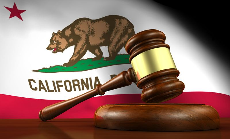California state flag in front of gavel